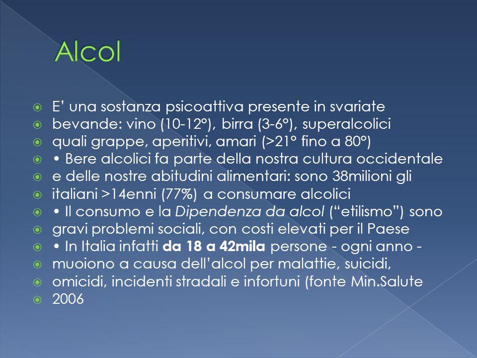 Alcol E' una sostanza psicoattiva presente in svariate