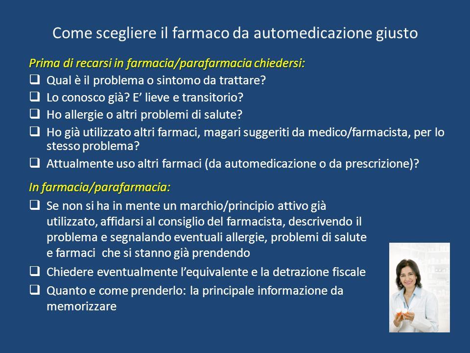Come scegliere il farmaco da automedicazione giusto