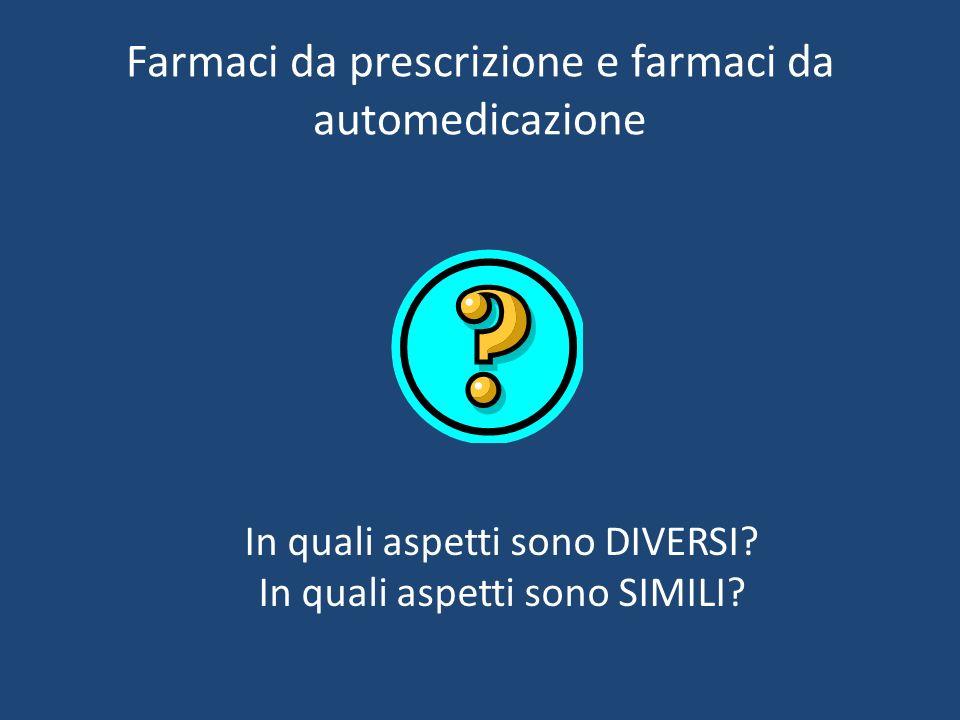 Farmaci da prescrizione e farmaci da automedicazione