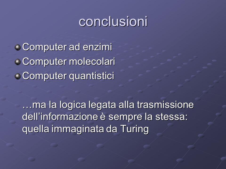 conclusioni Computer ad enzimi Computer molecolari