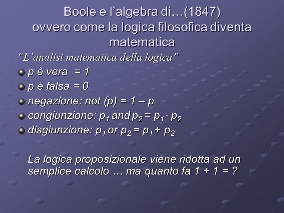 Boole e l'algebra di…(1847) ovvero come la logica filosofica diventa matematica