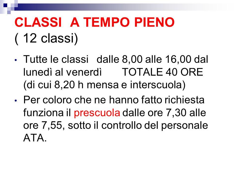 CLASSI A TEMPO PIENO ( 12 classi)