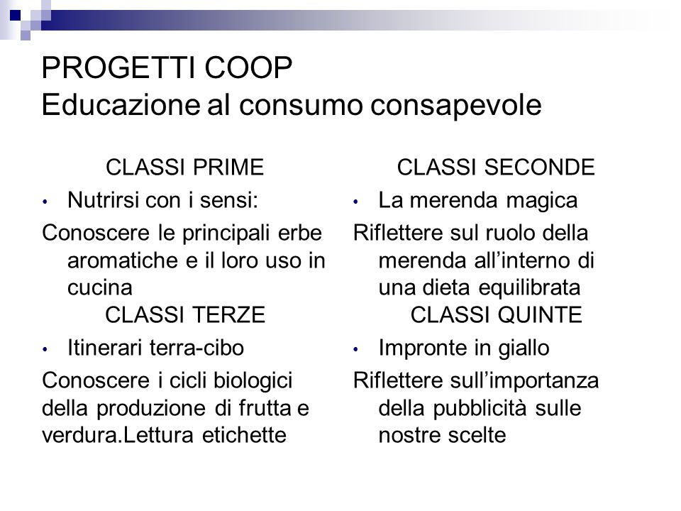 PROGETTI COOP Educazione al consumo consapevole