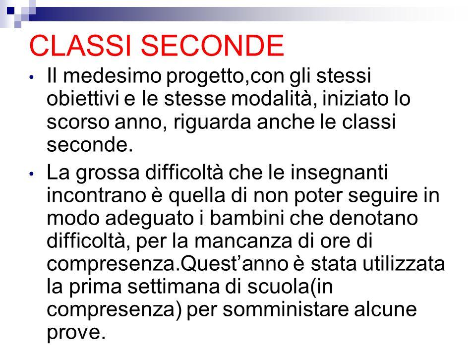 CLASSI SECONDE Il medesimo progetto,con gli stessi obiettivi e le stesse modalità, iniziato lo scorso anno, riguarda anche le classi seconde.