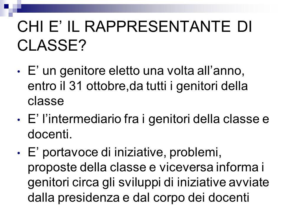 CHI E' IL RAPPRESENTANTE DI CLASSE