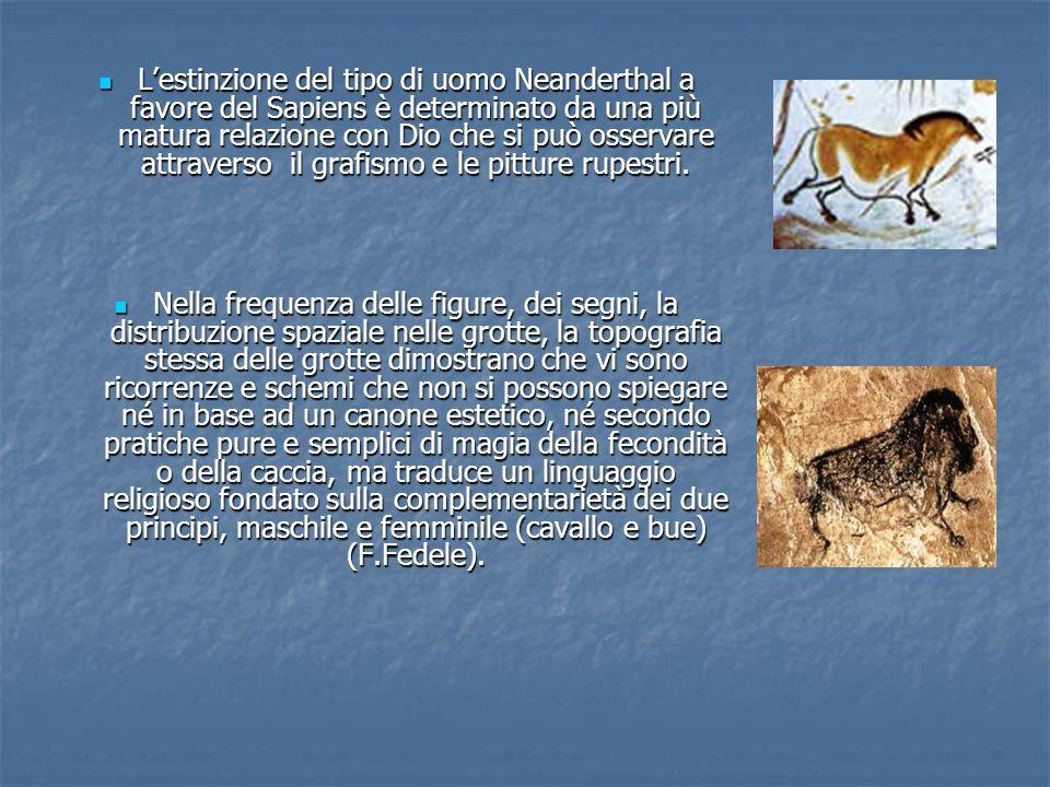 L'estinzione del tipo di uomo Neanderthal a favore del Sapiens è determinato da una più matura relazione con Dio che si può osservare attraverso il grafismo e le pitture rupestri.