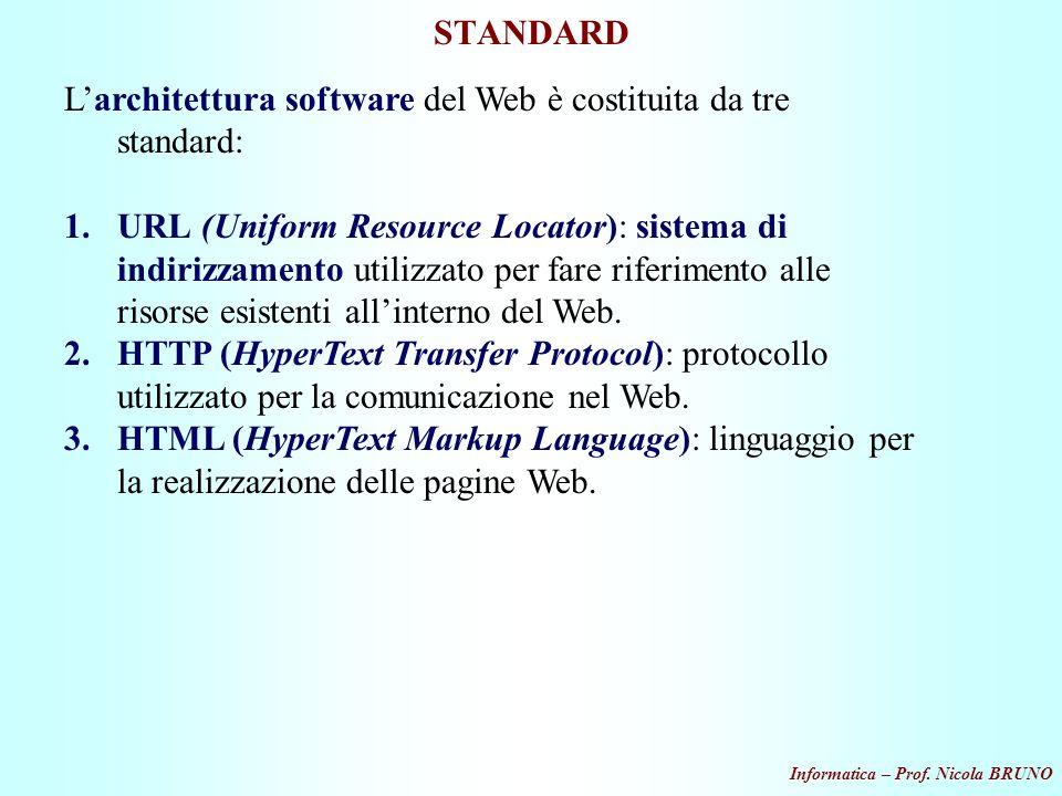 L'architettura software del Web è costituita da tre standard: