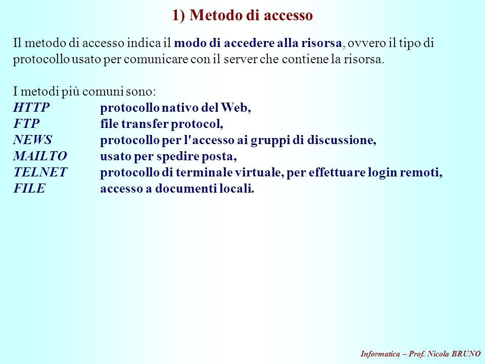 1) Metodo di accesso
