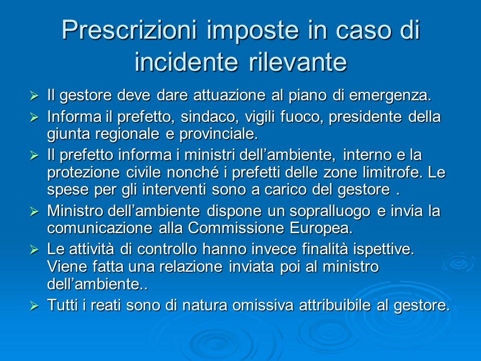 Prescrizioni imposte in caso di incidente rilevante