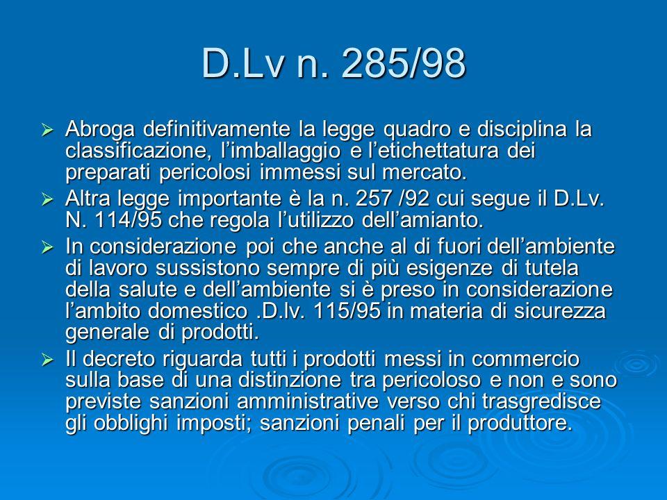 D.Lv n. 285/98