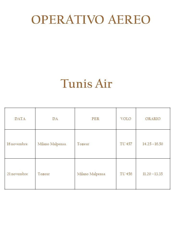 OPERATIVO AEREO Tunis Air DATA DA PER VOLO ORARIO 18 novembre