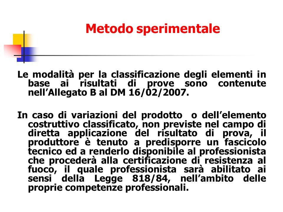 Metodo sperimentale Le modalità per la classificazione degli elementi in base ai risultati di prove sono contenute nell'Allegato B al DM 16/02/2007.