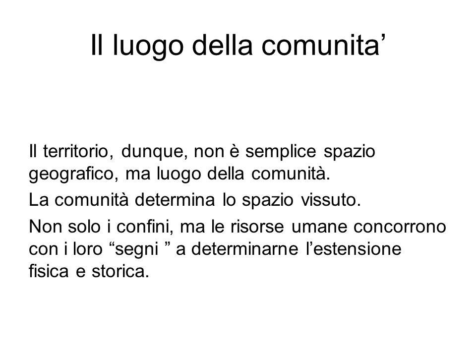 Il luogo della comunita'