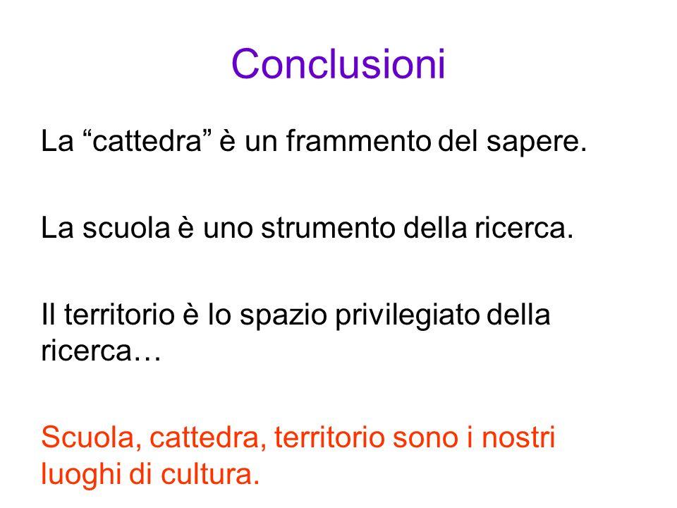 Conclusioni La cattedra è un frammento del sapere.