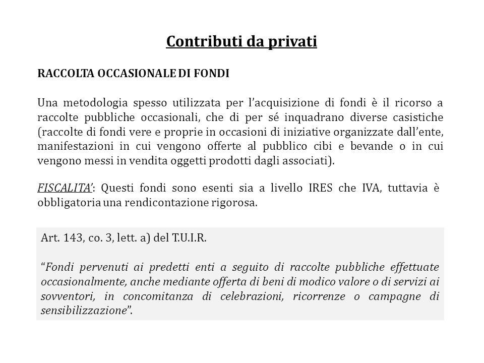 Contributi da privati RACCOLTA OCCASIONALE DI FONDI