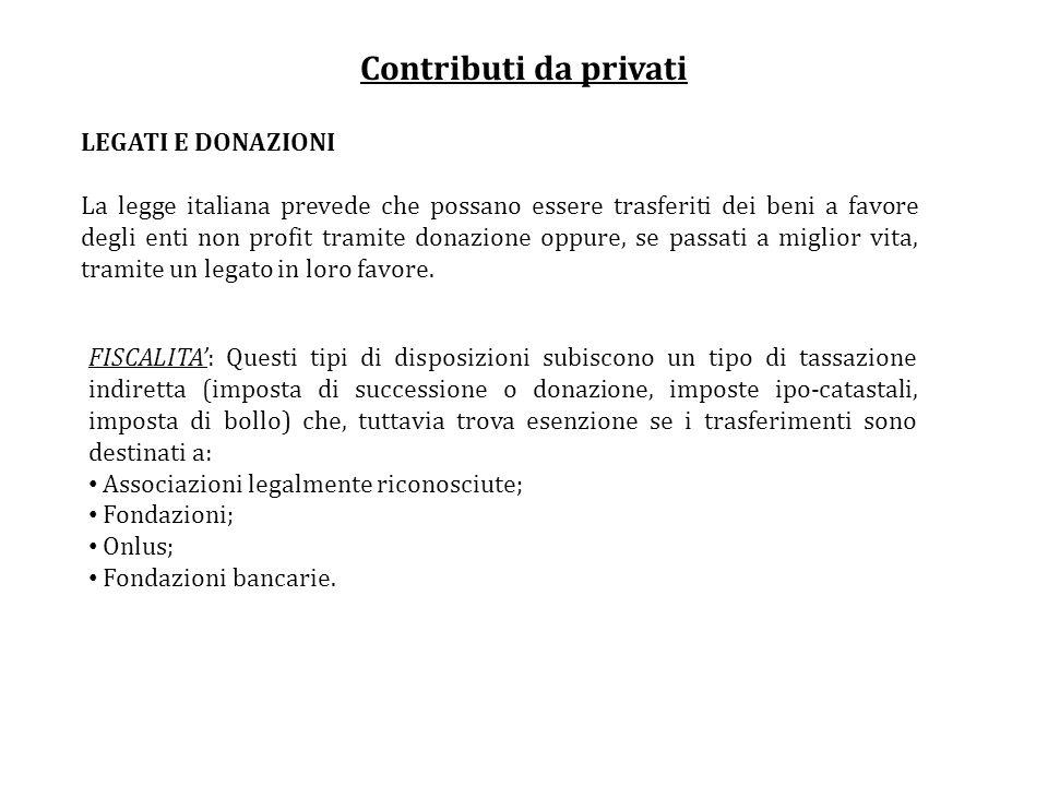 Contributi da privati LEGATI E DONAZIONI