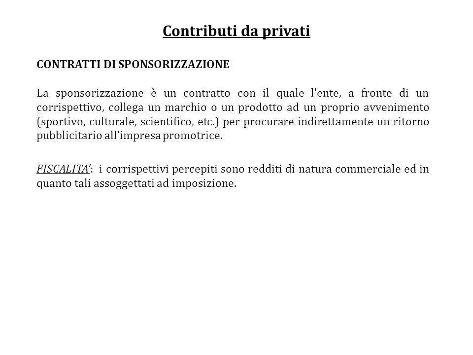 Contributi da privati CONTRATTI DI SPONSORIZZAZIONE