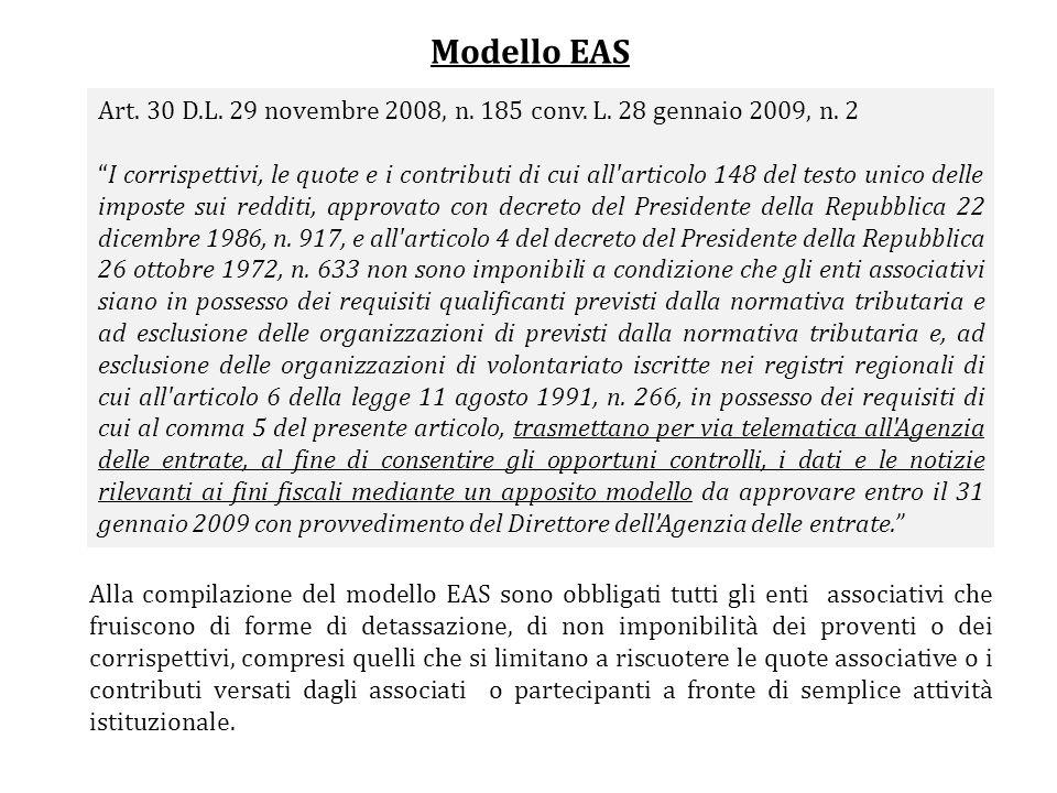 Modello EAS Art. 30 D.L. 29 novembre 2008, n. 185 conv. L. 28 gennaio 2009, n. 2.