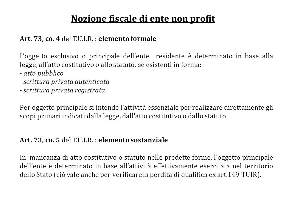 Nozione fiscale di ente non profit