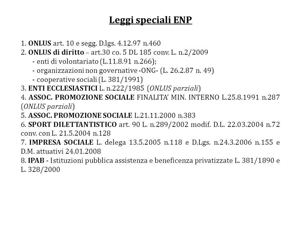Leggi speciali ENP 1. ONLUS art. 10 e segg. D.lgs. 4.12.97 n.460