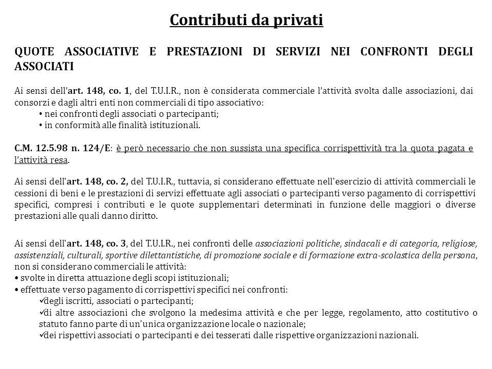 Contributi da privati QUOTE ASSOCIATIVE E PRESTAZIONI DI SERVIZI NEI CONFRONTI DEGLI ASSOCIATI.