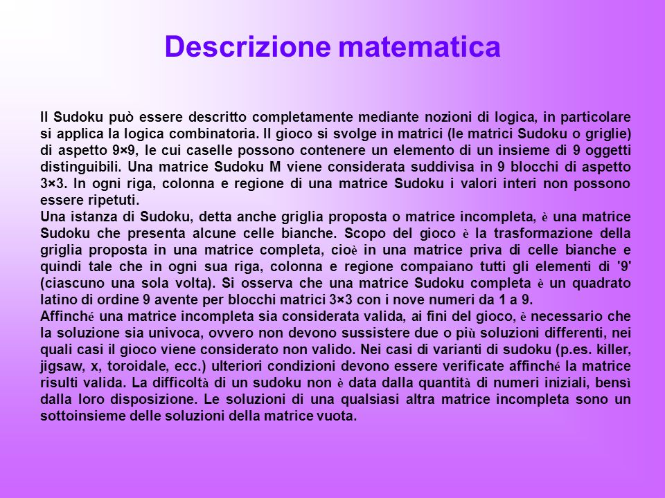 Descrizione matematica