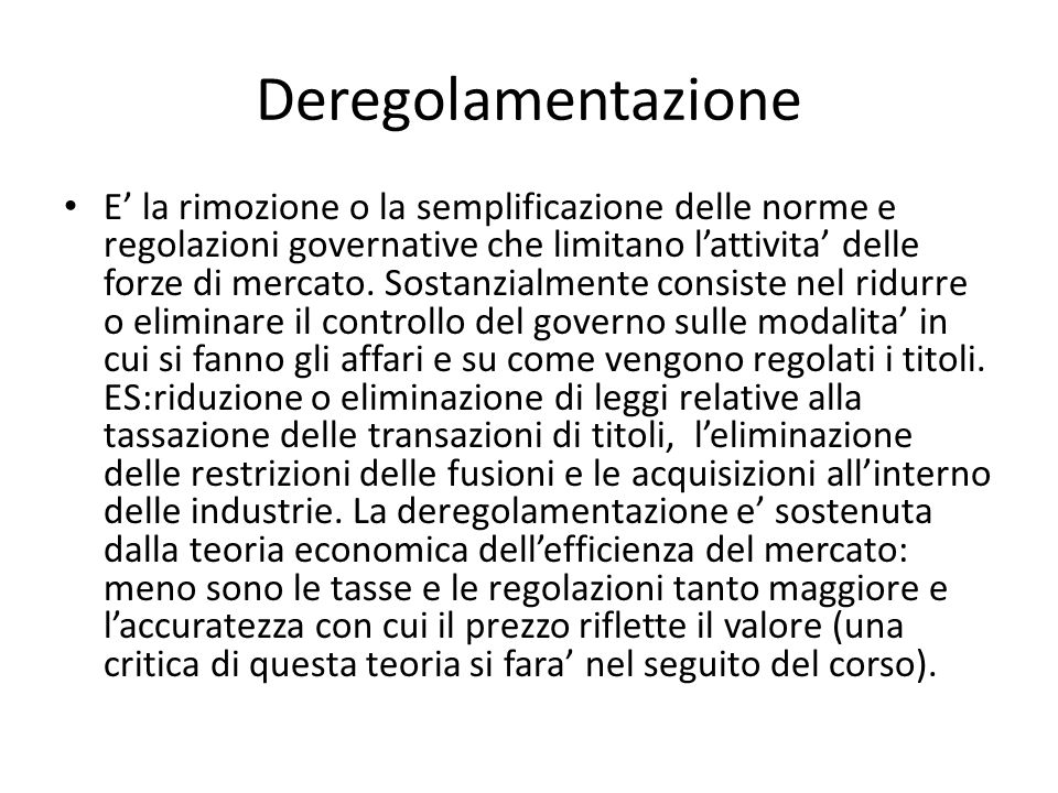 Deregolamentazione