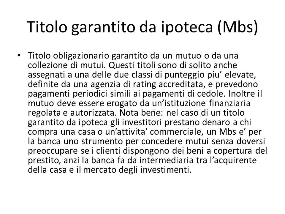 Titolo garantito da ipoteca (Mbs)