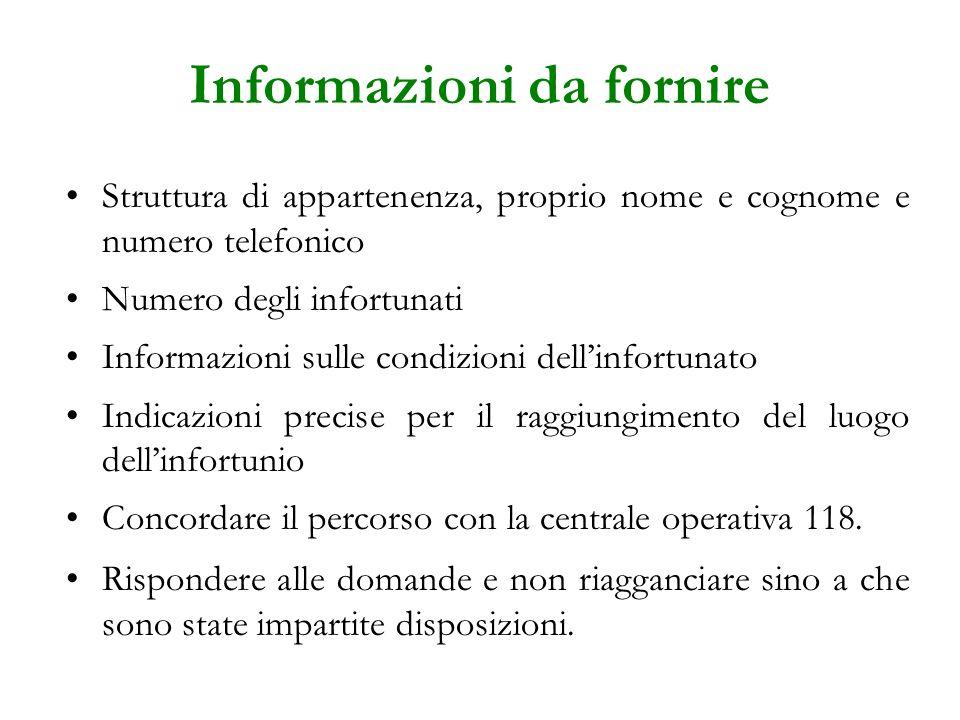 Informazioni da fornire