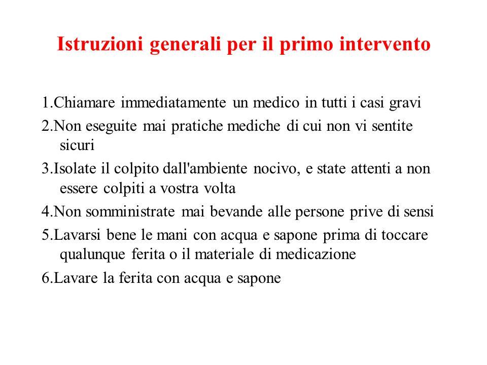 Istruzioni generali per il primo intervento