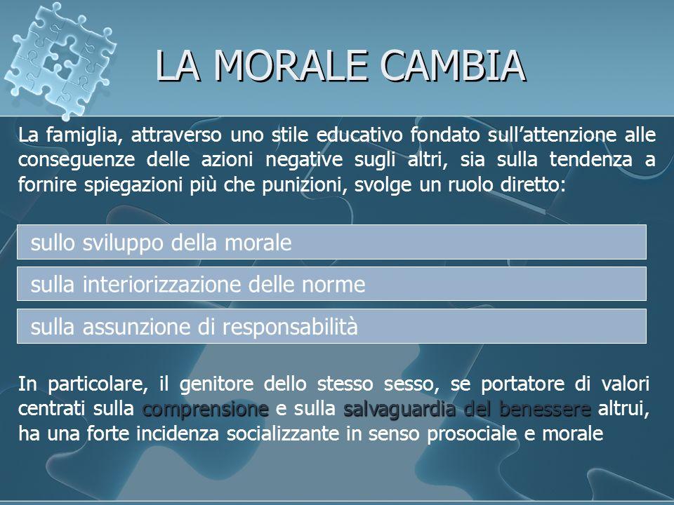 LA MORALE CAMBIA sullo sviluppo della morale
