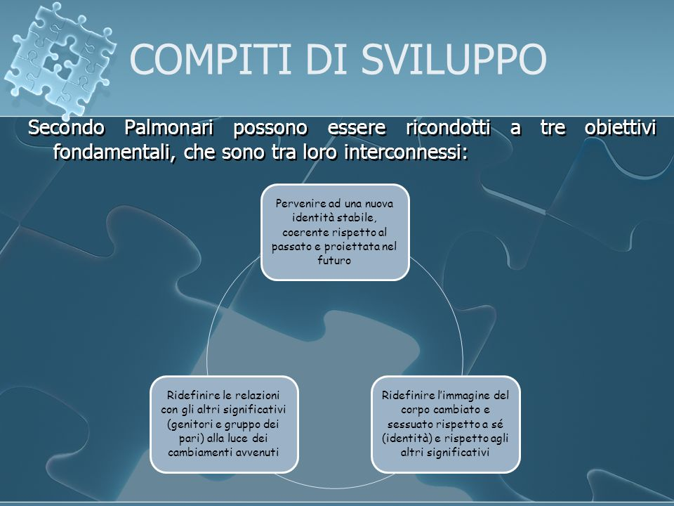 COMPITI DI SVILUPPO Secondo Palmonari possono essere ricondotti a tre obiettivi fondamentali, che sono tra loro interconnessi: