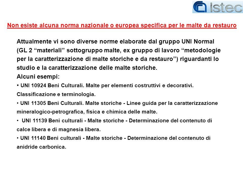 Non esiste alcuna norma nazionale o europea specifica per le malte da restauro
