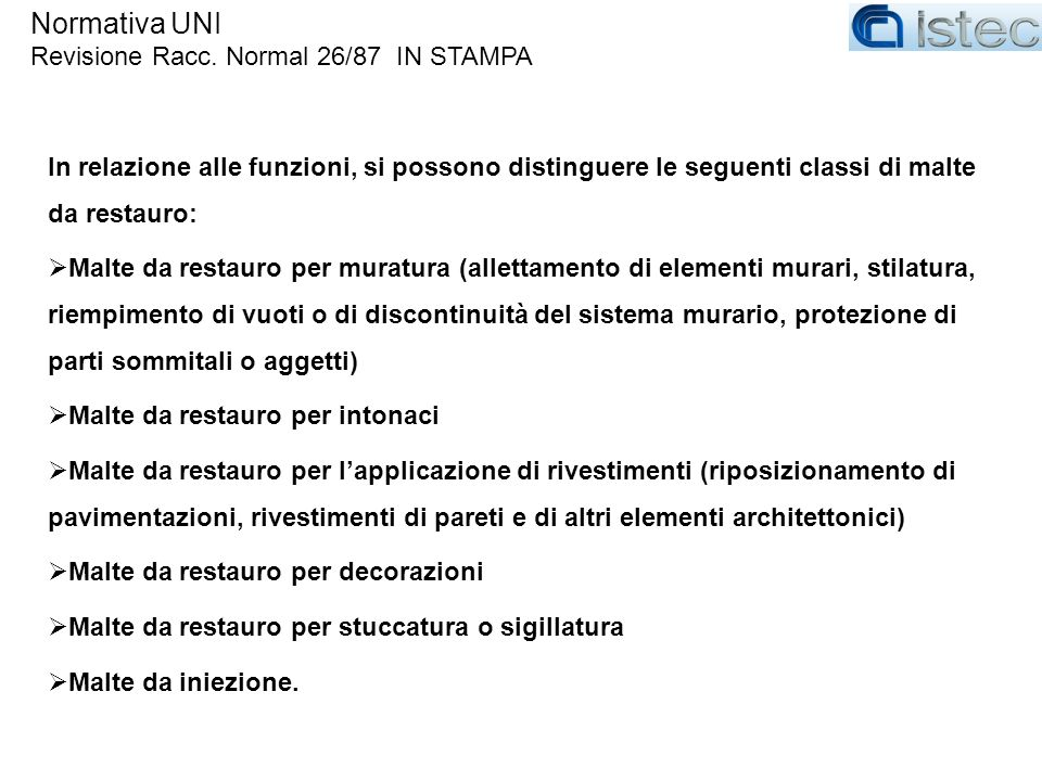 Normativa UNI Revisione Racc. Normal 26/87 IN STAMPA