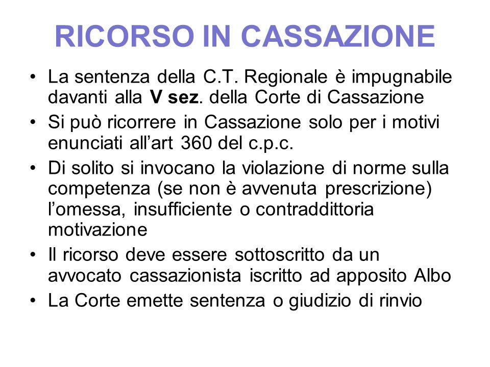 RICORSO IN CASSAZIONE La sentenza della C.T. Regionale è impugnabile davanti alla V sez. della Corte di Cassazione.