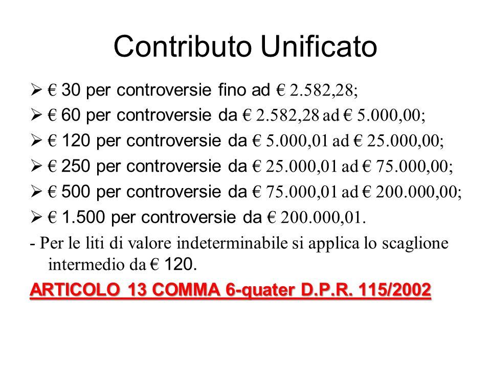Contributo Unificato € 30 per controversie fino ad € 2.582,28;