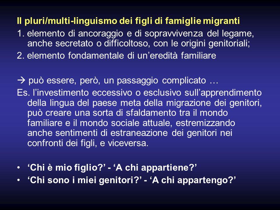 Il pluri/multi-linguismo dei figli di famiglie migranti