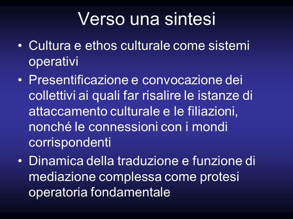 Verso una sintesi Cultura e ethos culturale come sistemi operativi