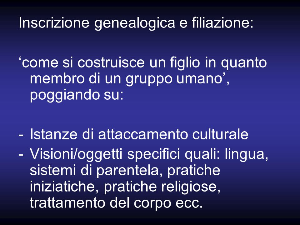 Inscrizione genealogica e filiazione: