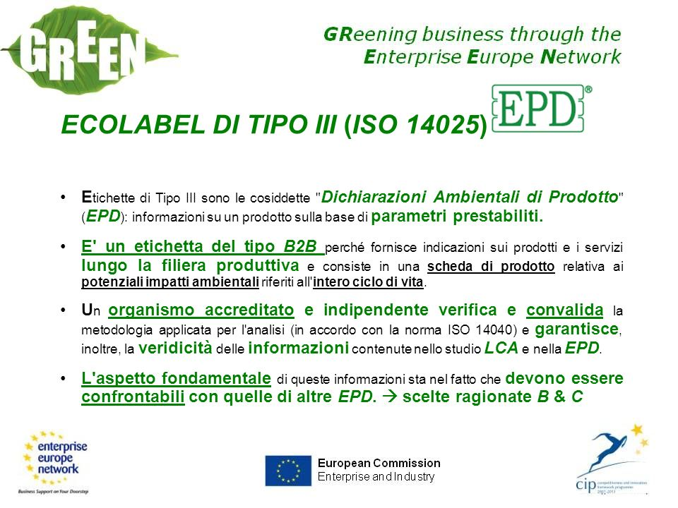 ECOLABEL DI TIPO III (ISO 14025)