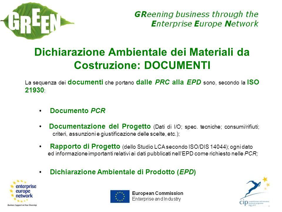 Dichiarazione Ambientale dei Materiali da Costruzione: DOCUMENTI