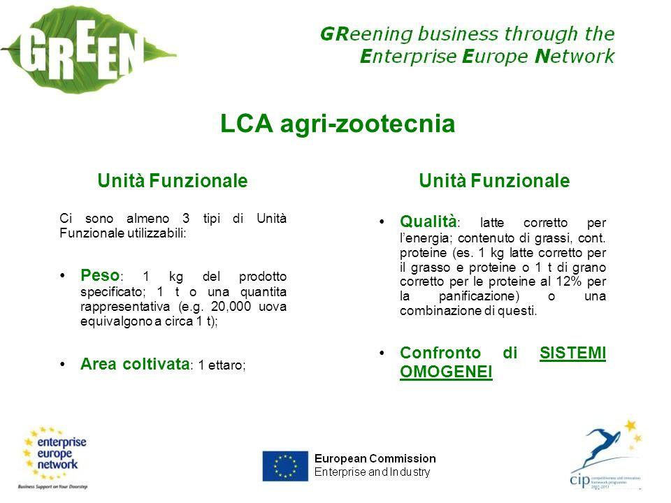 LCA agri-zootecnia Unità Funzionale Unità Funzionale