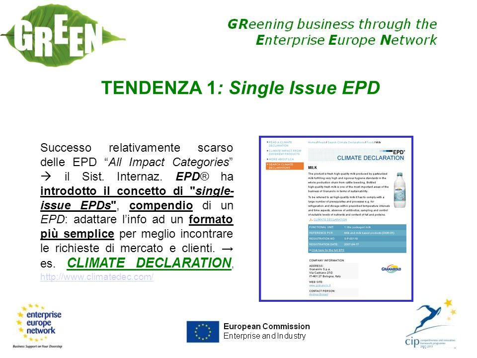 TENDENZA 1: Single Issue EPD