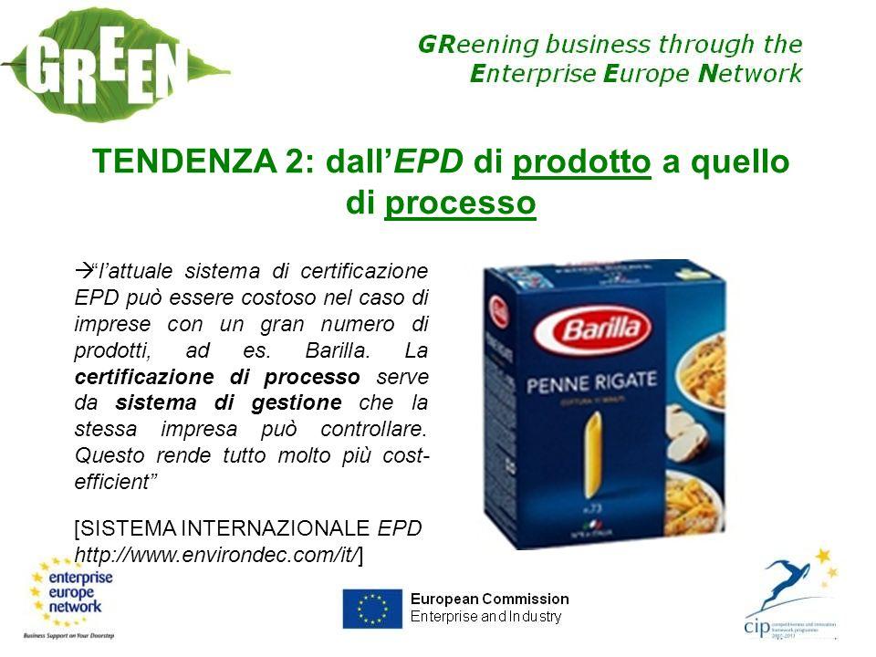 TENDENZA 2: dall'EPD di prodotto a quello di processo