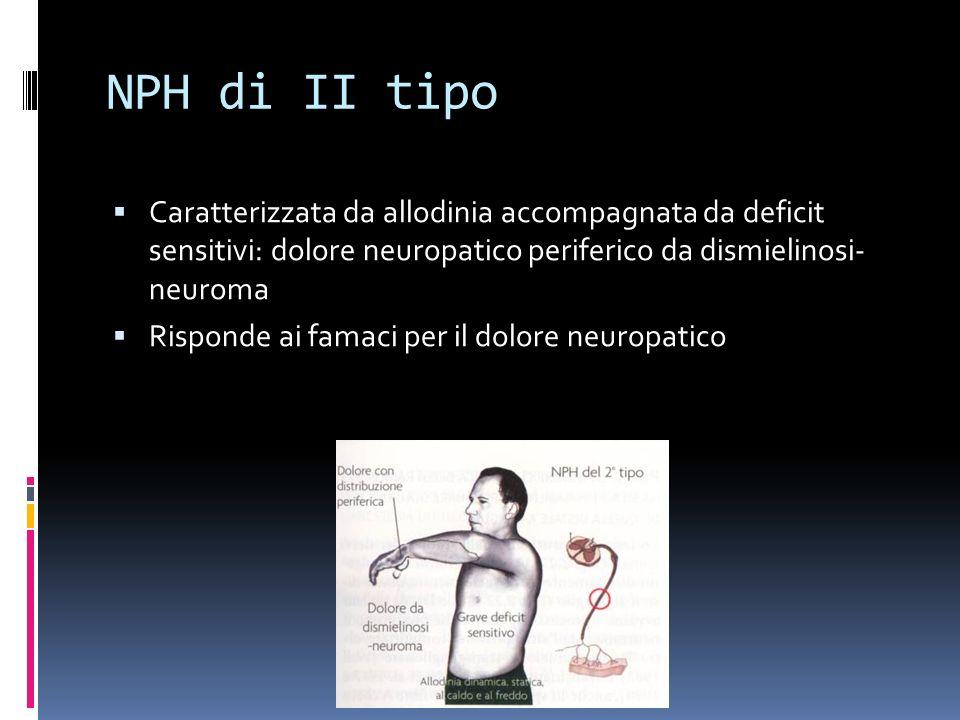 NPH di II tipo Caratterizzata da allodinia accompagnata da deficit sensitivi: dolore neuropatico periferico da dismielinosi- neuroma.