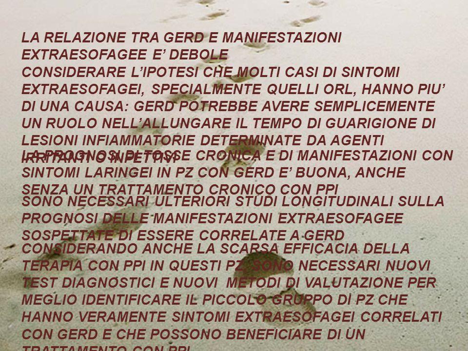 LA RELAZIONE TRA GERD E MANIFESTAZIONI EXTRAESOFAGEE E' DEBOLE