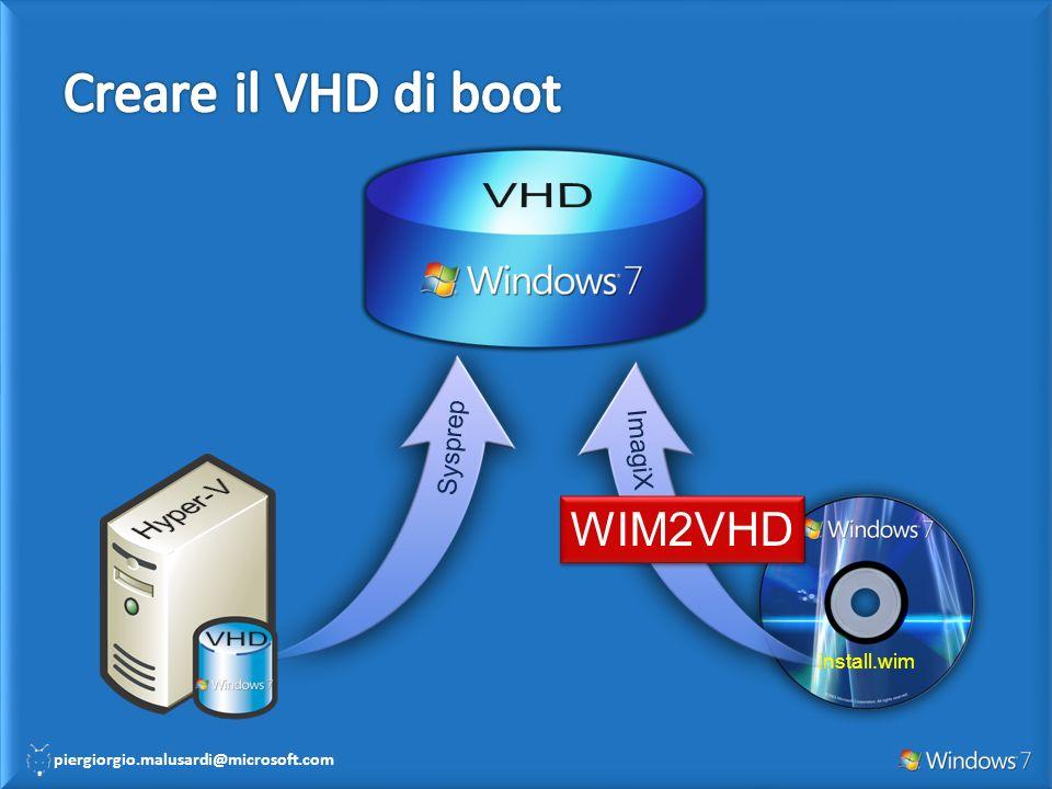 Creare il VHD di boot VHD WIM2VHD Hyper-V VHD Sysprep ImagiX
