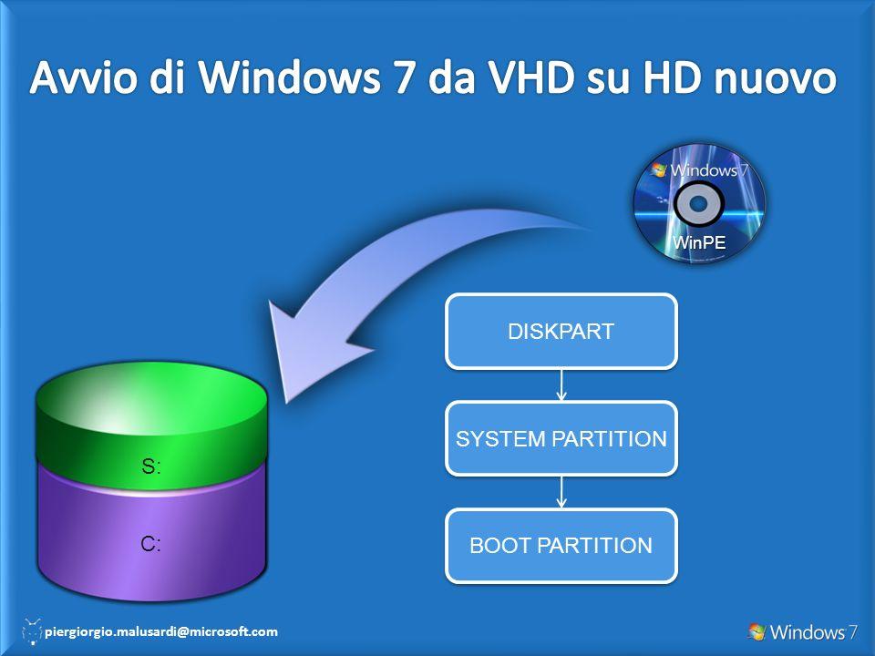 Avvio di Windows 7 da VHD su HD nuovo