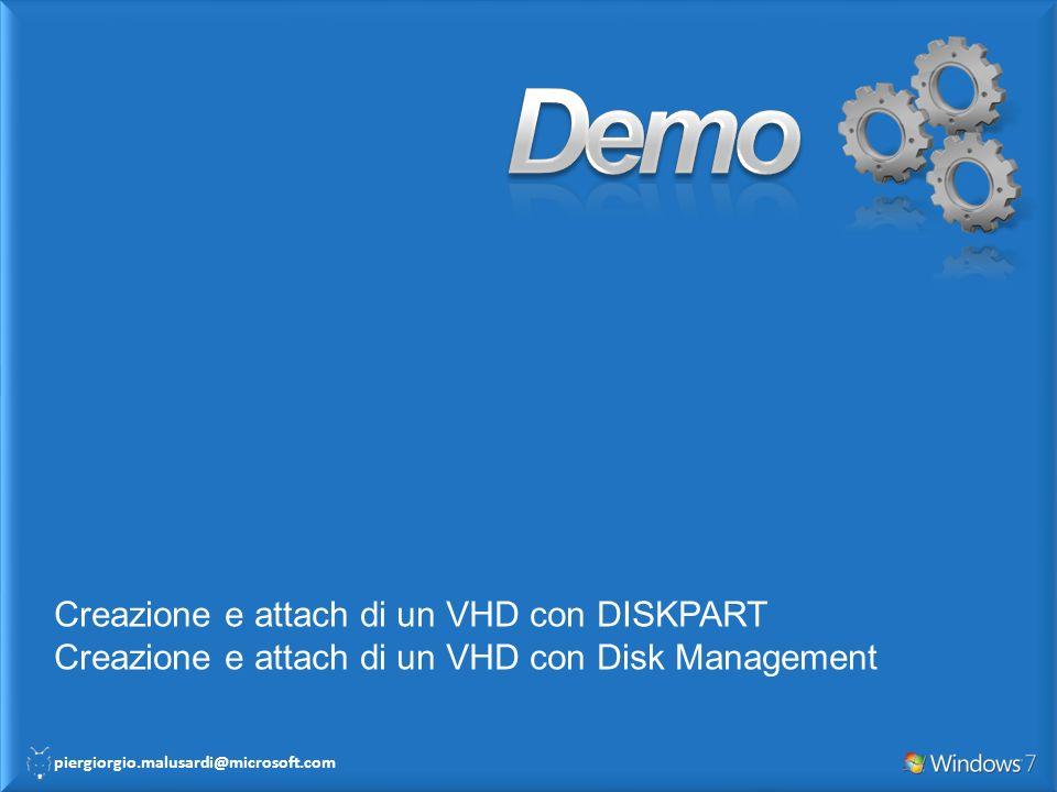 Demo Creazione e attach di un VHD con DISKPART