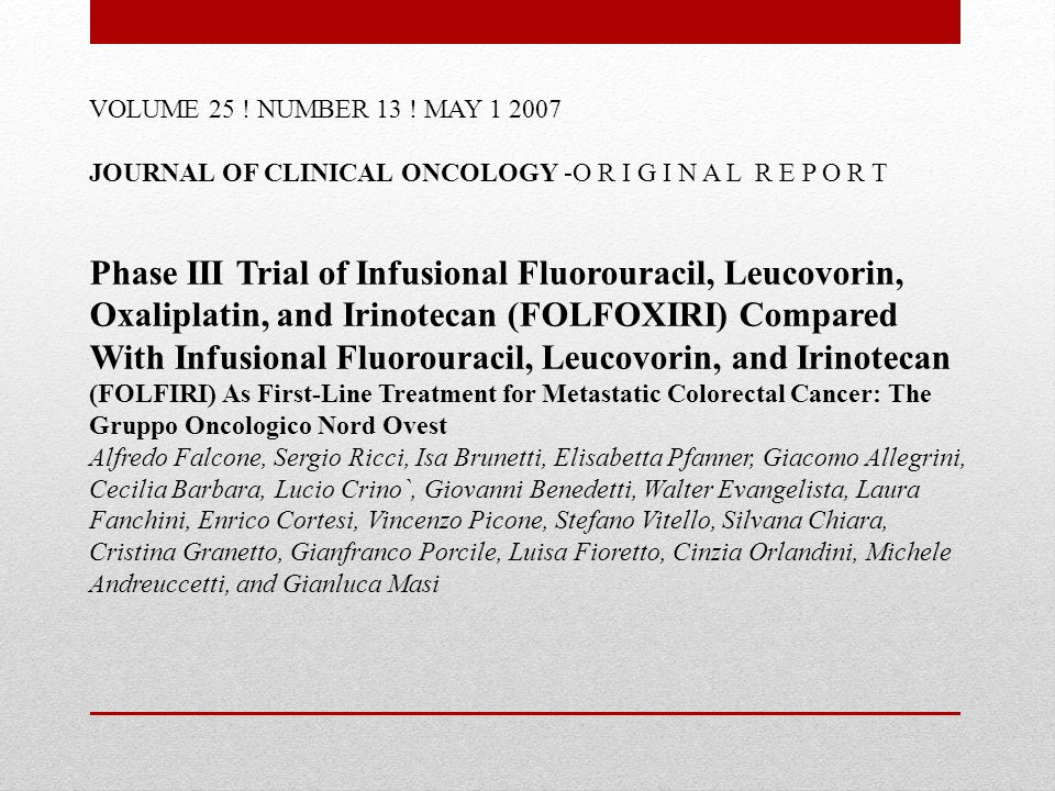 VOLUME 25 ! NUMBER 13 ! MAY 1 2007 JOURNAL OF CLINICAL ONCOLOGY -O R I G I N A L R E P O R T.